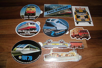 9 verschiedene AUFKLEBER - INTERCITY-UNIVERSALLOK-TRANSRAPID-IVA 79-Fern Express