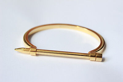 Women Stainless Steel 14K Gold Plated Nail Bangle Bracelet Jewelry Gift Present, used for sale  New York