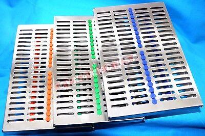 Premium 3 Dental Sterilization Cassette Rack Tray Box For 20 Surgical Instrument