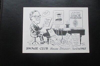 1965 THE SAVAGE CLUB MENU CARD HARRY RILEY CARTOON CARICATURE LESLIE MURCHIE