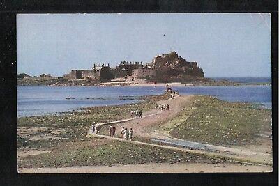 L@@K  Elizabeth Castle Jersey 1954 Postcard ~ SLOGAN POSTMARK