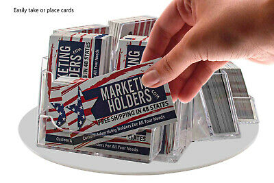 Business Card Holder 9 Pocket Rotating Horizontal And Vertical Countertop Qty 12