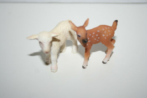 Schleich Baby Sheep and Baby Deer Fawn Figure Lot