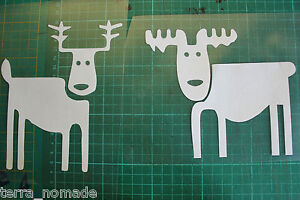 Christmas-Moose-Reindeer-Wall-Window-Stickers-Vinyl-Decal-Decoration-x-4-XMAS