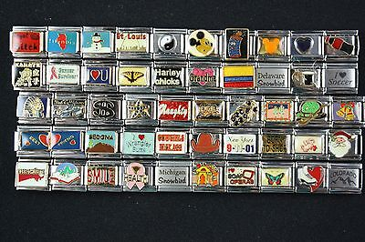 Italian Charms 50 assorted Stainless Steel Wholesale Lot 9mm  (C50-144)
