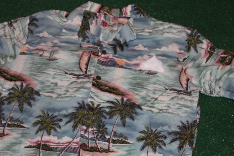 Original Vintage~Hilo Hattie from Hawaii Shirt~Hawaiian Scene-Boats Tiki-Luau