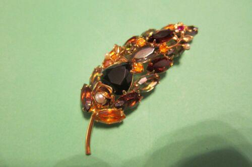Vintage Juliana Rootbeer/Brown/Amber Rhinestone Large Leaf/Branch Brooch/Pin