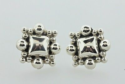 - Taxco Mexico TC-91 Sterling Silver 925 Square Pop-Out Bead Ball Post Earrings
