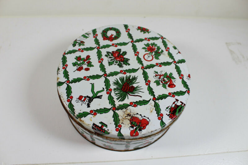 "Christmas Tin, 7"", Red, White, Green, Distressed"