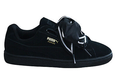 Puma Suede Heart Satin II Womens Trainers Lace Up Shoes Black 364084 01 D25