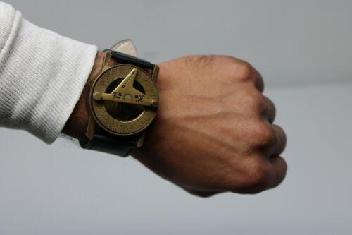 Antique Steampunk Wrist Brass Compass & Sundial-Watch With Black Leather Strap