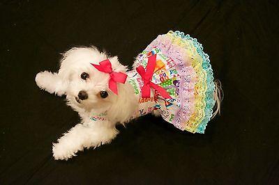 Medium Happy Birthday Girl Ruffles Dress -Dog dress clothes-Puppy Apparel -TOY