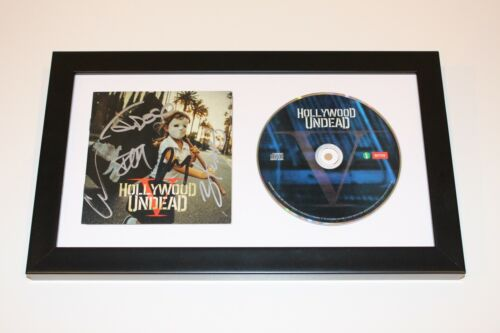 HOLLYWOOD UNDEAD BAND SIGNED FRAMED 'FIVE' CD COVER BOOKLET w/COA 5 NEW EMPIRE