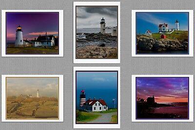 (6 Maine Lighthouse Blank Art Note Greeting Photo Cards Pemaquid Neddick  Quoddy )