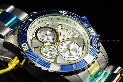 Invicta Men's 45mm Pro Diver OCEANIC BLUE Silver Chronograph Two Tone SS Watch