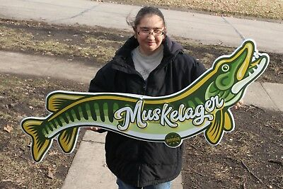 "Vintage Muskelager Beer Bar Tavern Fishing Gas Oil 49"" Embossed Metal Sign~Nice"