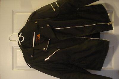 Mens Biker Black Motorcycle Jacket Medium with Pads