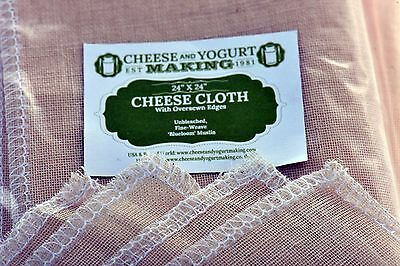 """Cheese Cloth - 24"""" Oversewn For Cheese Making, +FREE recipe ebook +FREE SHIPPING"""