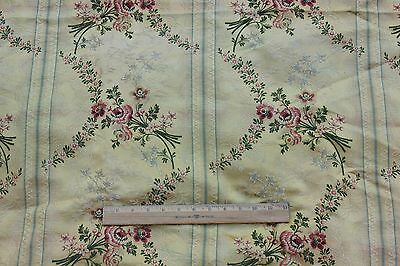 Antique French 19thC Floral & Lace Patterned Silk Brocade Fabric Panel~Home