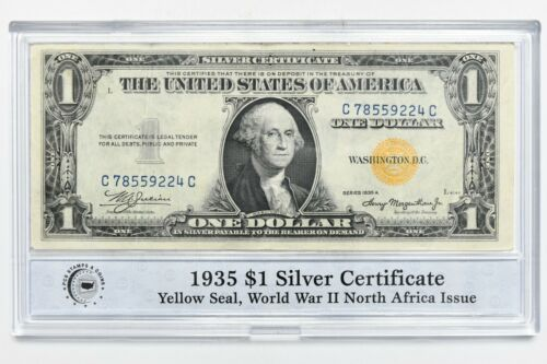 1935 Series One Dollar Silver Certificate $1 Yellow Seal North African Note