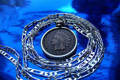 "Scarce Antique Indian Chiefs Head Penny Pendant on 30"" 925 Sterling Silver Chain"