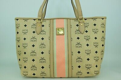 100% Authentic MCM Ivory Visetos Large Shopper Shoulder Bag With Dust Bag