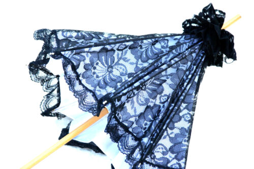 black and gray Lace Parasol Extra long wooden handle Victorian Edwardian style