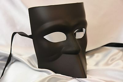 Mask For Boys (Blank White Black Bauta Masquerade mask for man boys Halloween midnight)