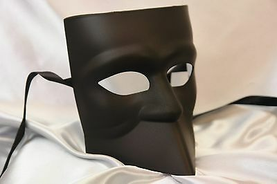 Blank White Black Bauta Masquerade mask for man boys Halloween midnight - Masquerade Masks For Boys