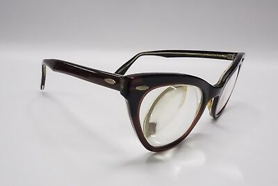Vintage BAUSCH LOMB CAT EYE Rx Eyeglasses Frames Pearl Brown 48[]22 B&L 8421