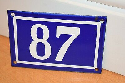 Vintage French Enamel Metal House Sign Number 87 - See Photos