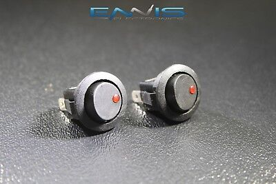 2 Pcs Round On Off Rocker Switch Mini Toggle Red Led 34 Mount Hole Ec-1213rd