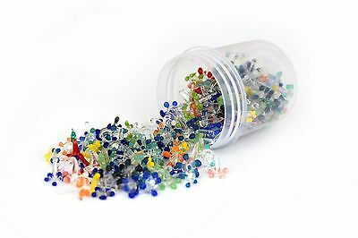 200 small glass daisy style screens by assorted color in resealable container