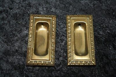 - METAL DOOR PULL PUSH plate Window Sash Pull SET POCKET HANDLES HARDWARE Vtg NOS