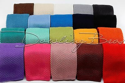 """New Mens Solid Knit Knitted Neck Tie Woven Slim Square 2.5"""" - Many Colors!"""