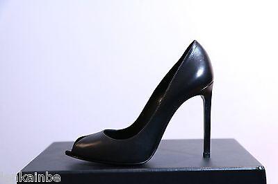 YSL Yves Saint Laurent Paris Black Peep Toe Pumps Shoes 40.5 10.5 $695