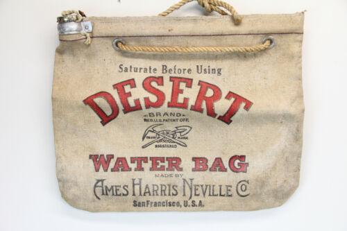VINTAGE DESERT BRAND WATER BAG AMES HARRIS NEVILLE SAN FRANCISCO USA CANVAS