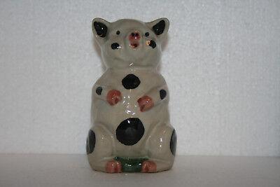 Vintage Handcraft Stoneware Art Pottery Figural Standing Spotted Pig Piggy Bank
