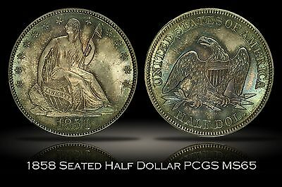 Click now to see the BUY IT NOW Price! 1858 SEATED LIBERTY HALF DOLLAR PCGS MS65 FULLY TONED AND LUSTROUS GEM 50C