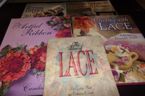 Lot 5 Books Lace Button Lovers Victorian Ribbon & Lacecraft Design Artful Ribbon