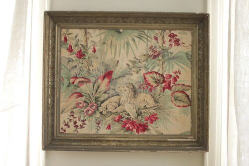 Rare Print Antique French FRAMED Fabric art LION c 1868 JUNGLE distressed