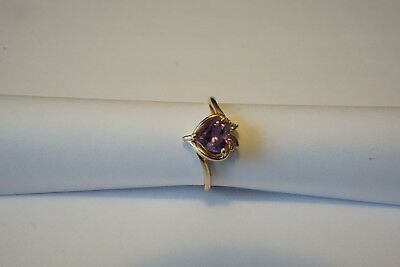 14K Gold Amethyst Heart and Diamond Ring size (14k Gold Amethyst Heart Ring)