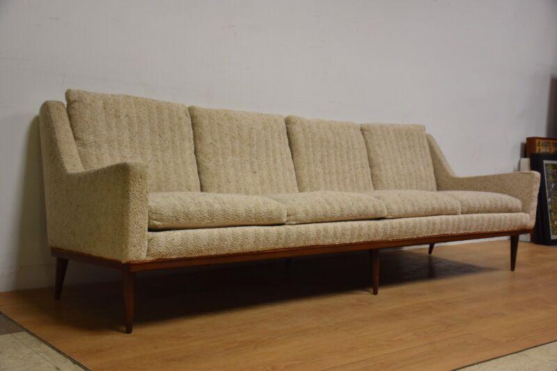 Milo Baughman Beige Sofa Mid Century