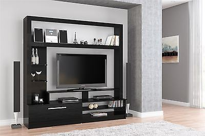 Birlea nova tv stand entertainment unit wall cabinet cupboard black gloss