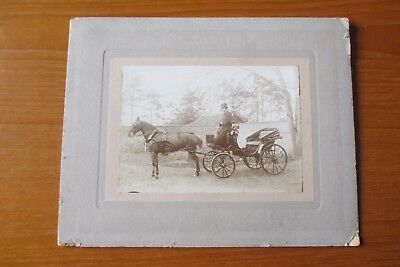 ANTIQUE PHOTOGRAPH HORSE AND CARRIAGE TOP HAT