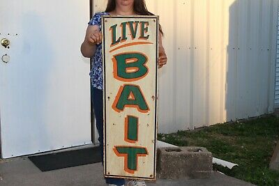 """Vintage Live Bait Minnows Worms Fishing Lure Gas Oil 36"""" Metal Sign"""