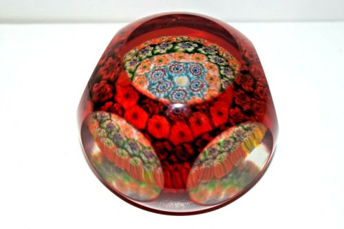 Stunning Murano Wine Faceted Paperweight with Close Packed Millefiori