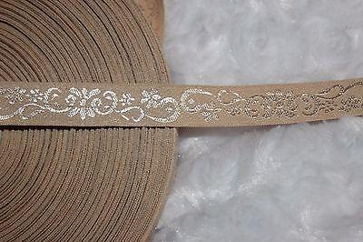 ($1 yard Tan Nude white JACQUARD Brocade woven ribbon Trim 1/2