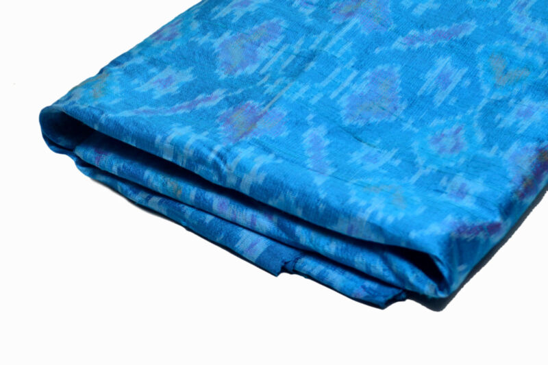 Royal Blue Ikat Pure Silk Hand Woven Fabric with Vibrant Geometric Patterns