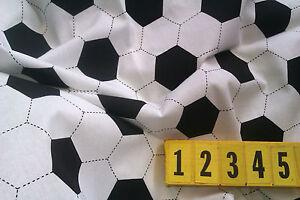 White Cotton Fabric Football Soccer Print -  Black - 50cm x 150cm - New by Dcf